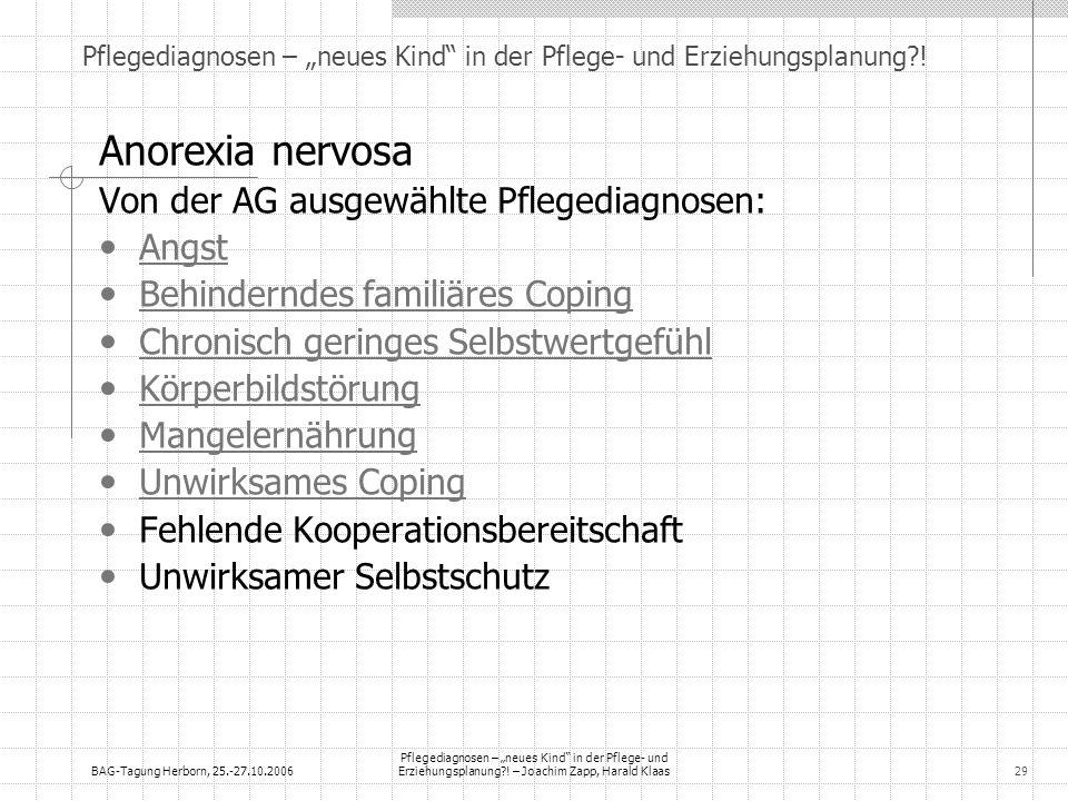 BAG-Tagung Herborn, 25.-27.10.2006 Pflegediagnosen – neues Kind in der Pflege- und Erziehungsplanung?! – Joachim Zapp, Harald Klaas29 Anorexia nervosa