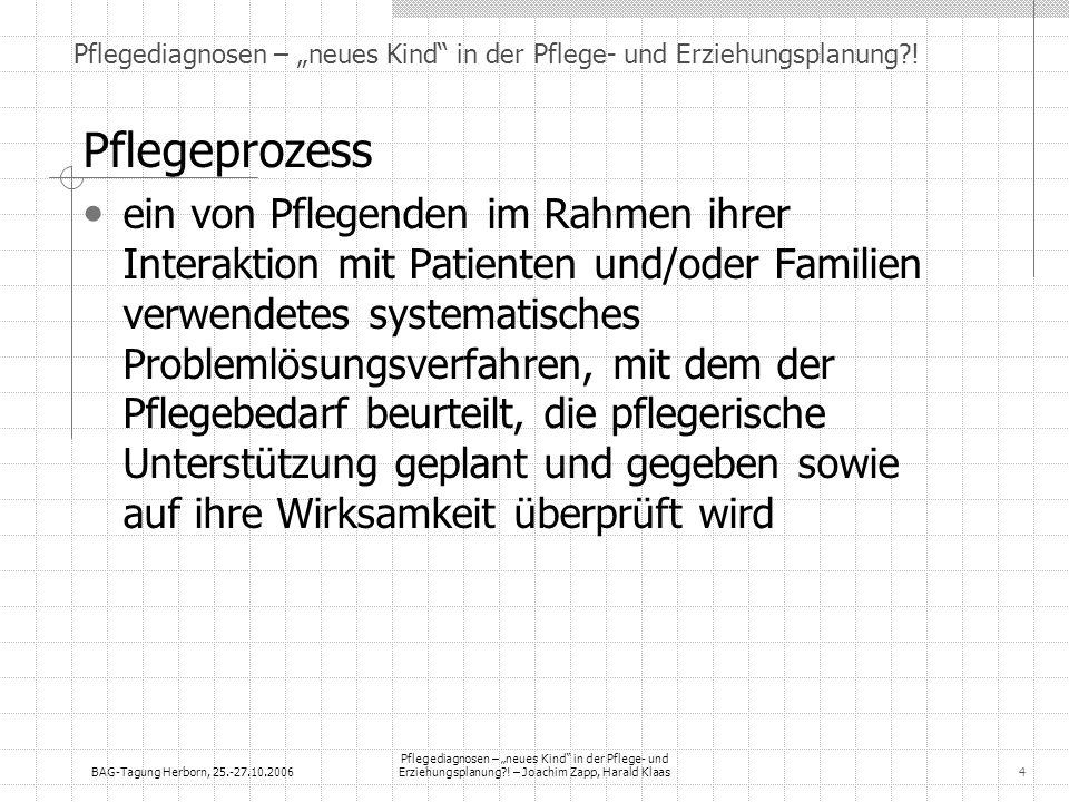 BAG-Tagung Herborn, 25.-27.10.2006 Pflegediagnosen – neues Kind in der Pflege- und Erziehungsplanung?! – Joachim Zapp, Harald Klaas4 Pflegediagnosen –