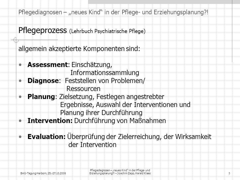 BAG-Tagung Herborn, 25.-27.10.2006 Pflegediagnosen – neues Kind in der Pflege- und Erziehungsplanung?! – Joachim Zapp, Harald Klaas5 Pflegediagnosen –