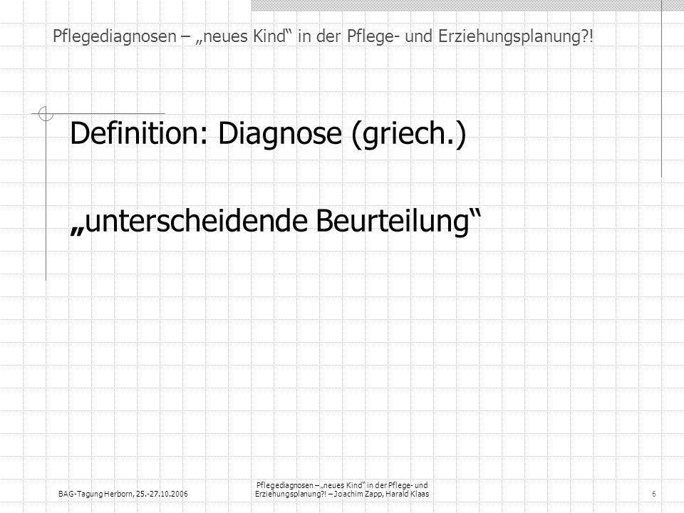 BAG-Tagung Herborn, 25.-27.10.2006 Pflegediagnosen – neues Kind in der Pflege- und Erziehungsplanung?! – Joachim Zapp, Harald Klaas6 Pflegediagnosen –
