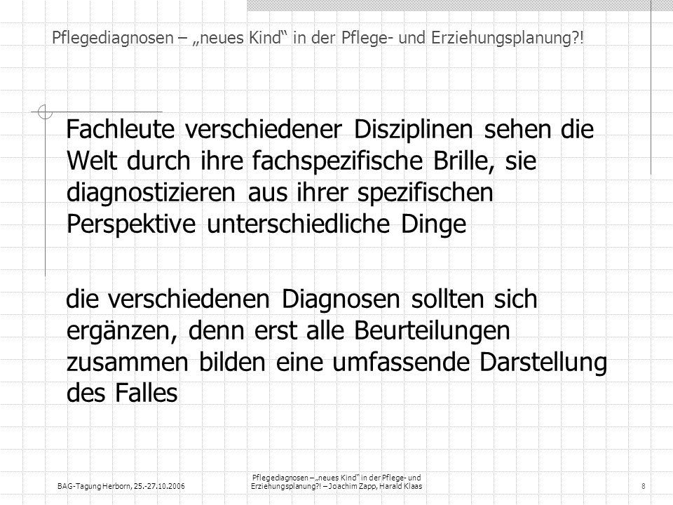 BAG-Tagung Herborn, 25.-27.10.2006 Pflegediagnosen – neues Kind in der Pflege- und Erziehungsplanung?! – Joachim Zapp, Harald Klaas8 Fachleute verschi