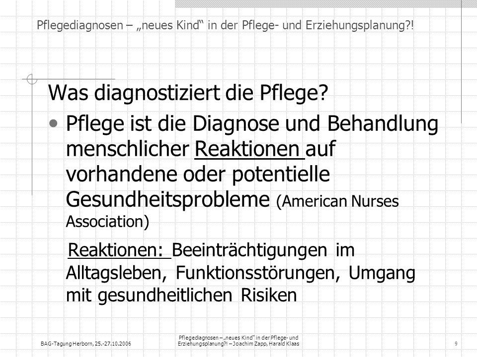 BAG-Tagung Herborn, 25.-27.10.2006 Pflegediagnosen – neues Kind in der Pflege- und Erziehungsplanung?! – Joachim Zapp, Harald Klaas9 Pflegediagnosen –