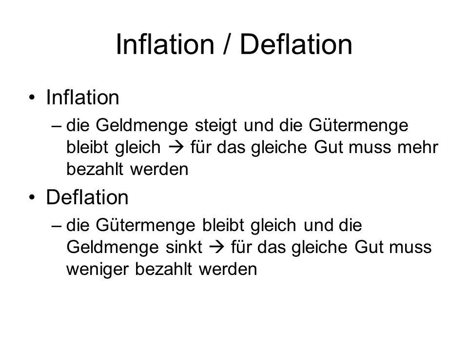 Inflation / Deflation Inflation –die Geldmenge steigt und die Gütermenge bleibt gleich für das gleiche Gut muss mehr bezahlt werden Deflation –die Güt