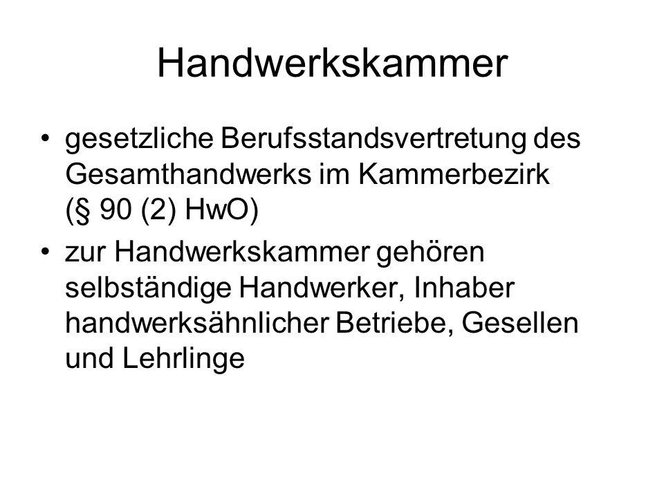 Handwerkskammer gesetzliche Berufsstandsvertretung des Gesamthandwerks im Kammerbezirk (§ 90 (2) HwO) zur Handwerkskammer gehören selbständige Handwer