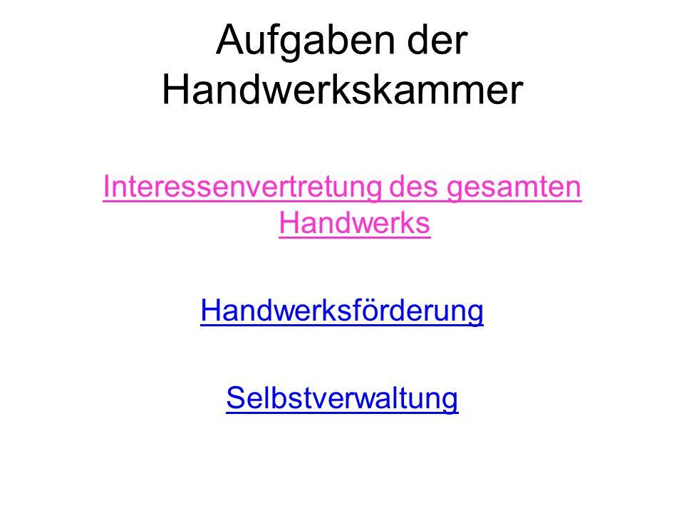 Aufgaben der Handwerkskammer Interessenvertretung des gesamten Handwerks Handwerksförderung Selbstverwaltung