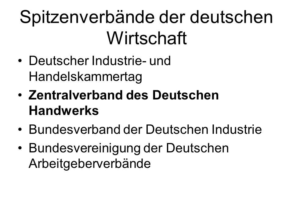 Spitzenverbände der deutschen Wirtschaft Deutscher Industrie- und Handelskammertag Zentralverband des Deutschen Handwerks Bundesverband der Deutschen