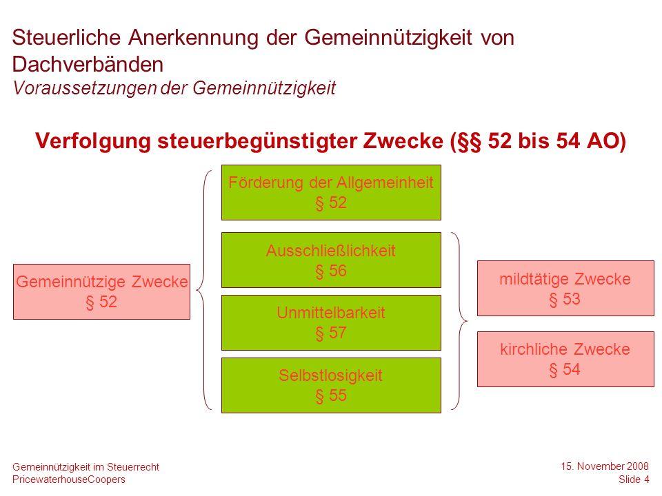 PricewaterhouseCoopers 15. November 2008 Slide 4 Gemeinnützigkeit im Steuerrecht Steuerliche Anerkennung der Gemeinnützigkeit von Dachverbänden Voraus
