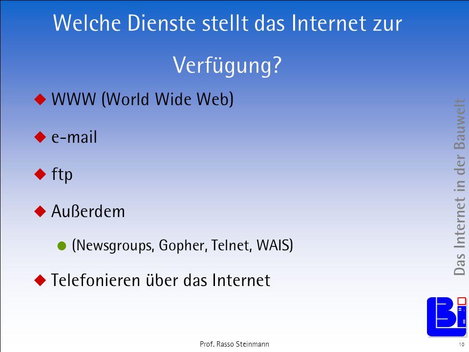 Das Internet in der Bauwelt 10 Prof. Rasso Steinmann Welche Dienste stellt das Internet zur Verfügung? WWW (World Wide Web) e-mail ftp Außerdem (Newsg