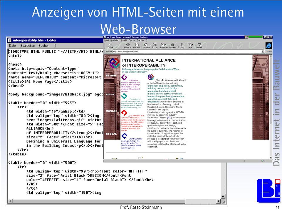 Das Internet in der Bauwelt 13 Prof. Rasso Steinmann Anzeigen von HTML-Seiten mit einem Web-Browser