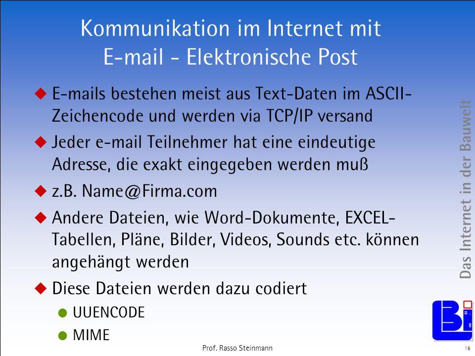 Das Internet in der Bauwelt 16 Prof. Rasso Steinmann Kommunikation im Internet mit E-mail - Elektronische Post E-mails bestehen meist aus Text-Daten i