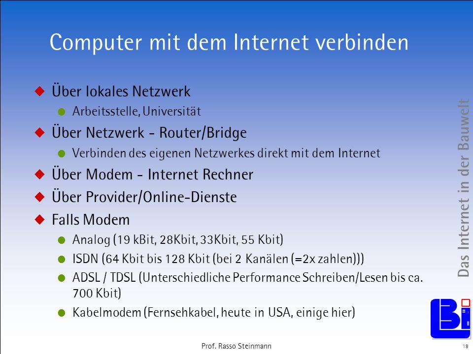 Das Internet in der Bauwelt 19 Prof. Rasso Steinmann Computer mit dem Internet verbinden Über lokales Netzwerk Arbeitsstelle, Universität Über Netzwer