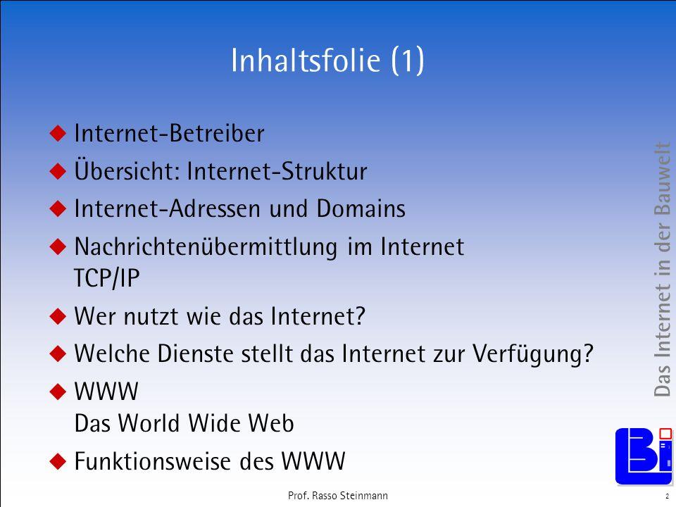Das Internet in der Bauwelt 2 Prof. Rasso Steinmann Inhaltsfolie (1) Internet-Betreiber Übersicht: Internet-Struktur Internet-Adressen und Domains Nac