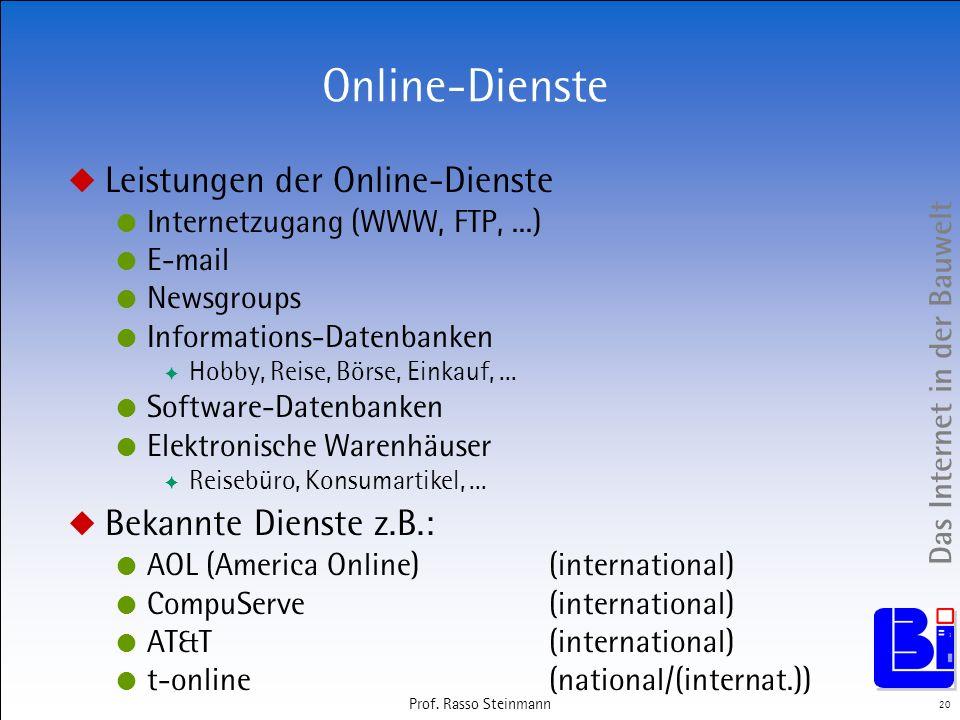 Das Internet in der Bauwelt 20 Prof. Rasso Steinmann Online-Dienste Leistungen der Online-Dienste Internetzugang (WWW, FTP,...) E-mail Newsgroups Info