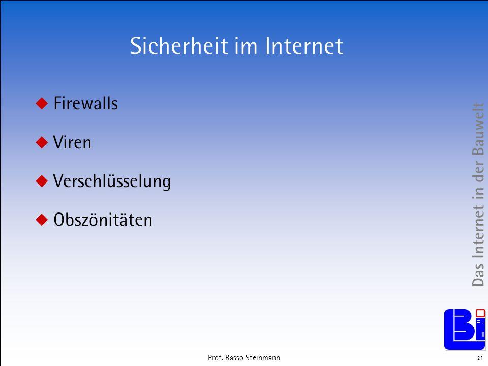 Das Internet in der Bauwelt 21 Prof. Rasso Steinmann Sicherheit im Internet Firewalls Viren Verschlüsselung Obszönitäten
