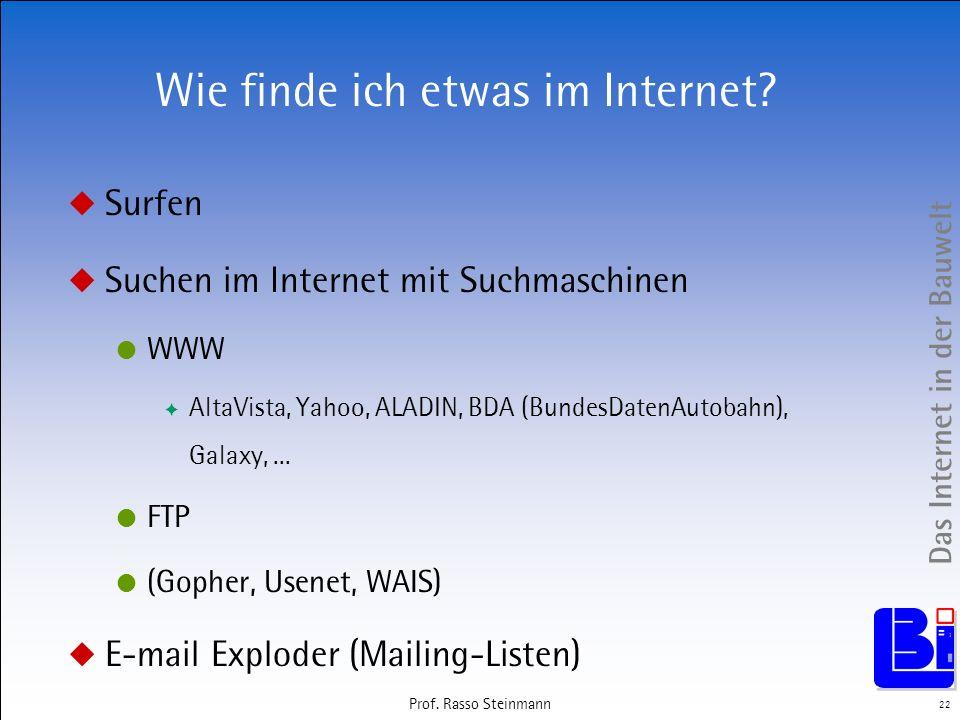 Das Internet in der Bauwelt 22 Prof. Rasso Steinmann Wie finde ich etwas im Internet? Surfen Suchen im Internet mit Suchmaschinen WWW AltaVista, Yahoo