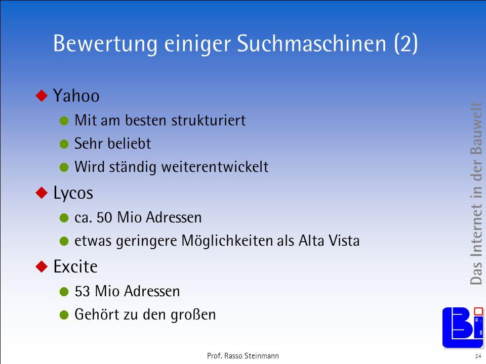 Das Internet in der Bauwelt 24 Prof. Rasso Steinmann Bewertung einiger Suchmaschinen (2) Yahoo Mit am besten strukturiert Sehr beliebt Wird ständig we