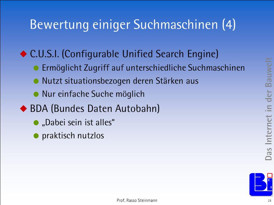Das Internet in der Bauwelt 25 Prof. Rasso Steinmann Bewertung einiger Suchmaschinen (4) C.U.S.I. (Configurable Unified Search Engine) Ermöglicht Zugr