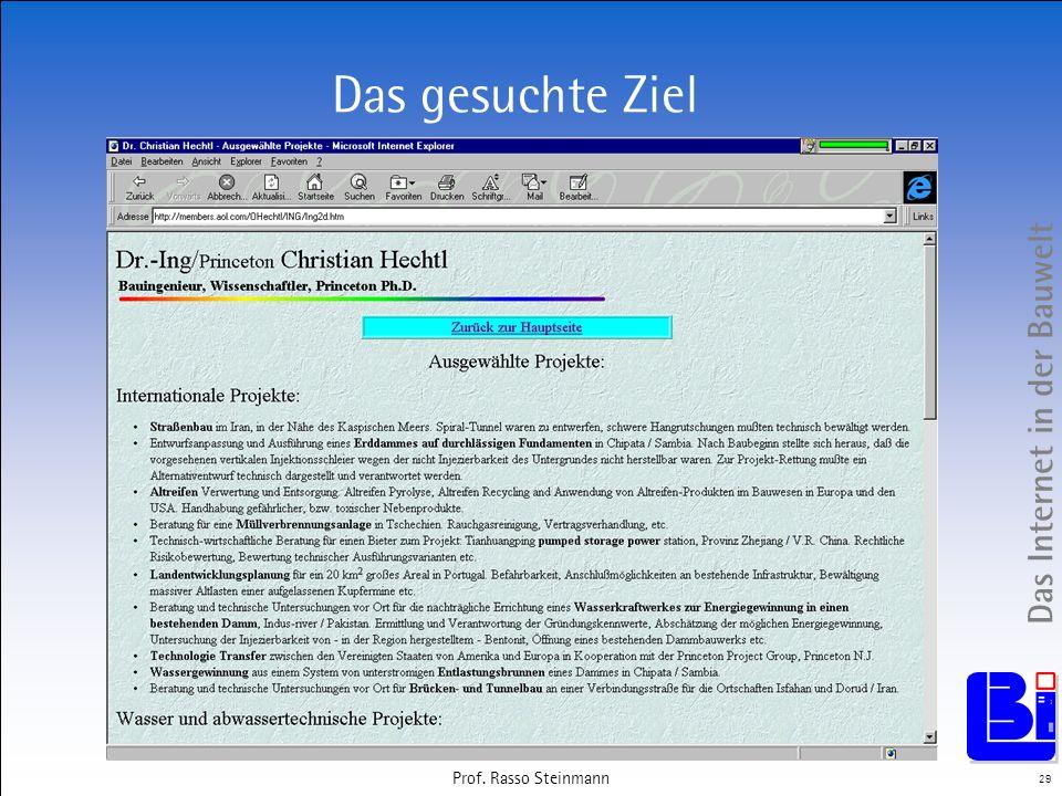 Das Internet in der Bauwelt 29 Prof. Rasso Steinmann Das gesuchte Ziel