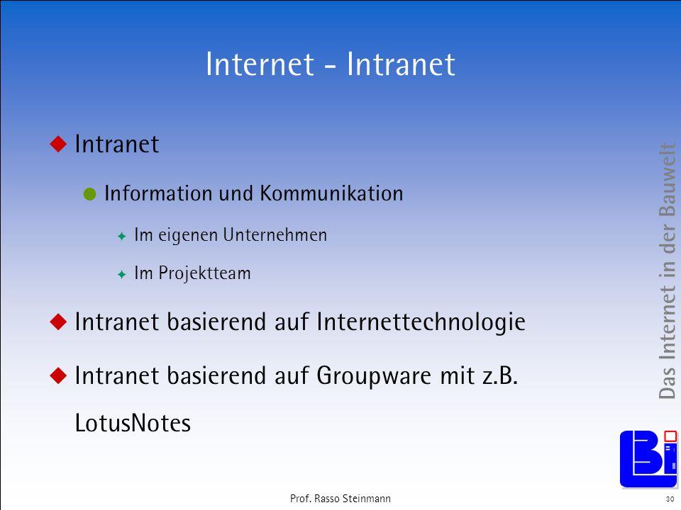 Das Internet in der Bauwelt 30 Prof. Rasso Steinmann Internet - Intranet Intranet Information und Kommunikation Im eigenen Unternehmen Im Projektteam