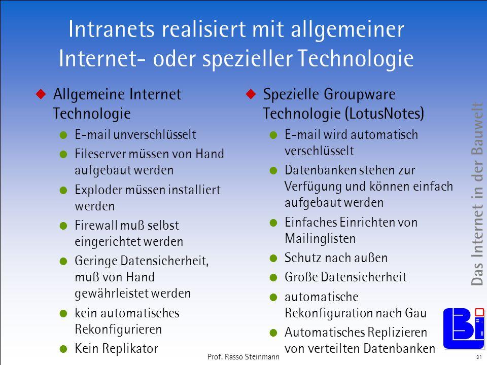 Das Internet in der Bauwelt 31 Prof. Rasso Steinmann Intranets realisiert mit allgemeiner Internet- oder spezieller Technologie Allgemeine Internet Te