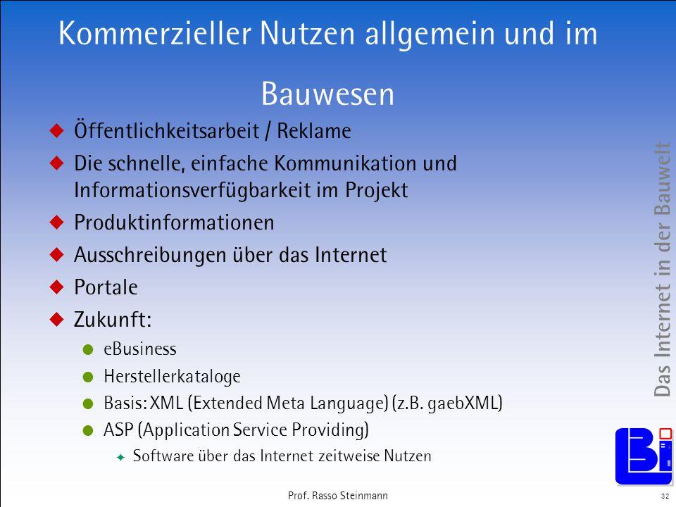 Das Internet in der Bauwelt 32 Prof. Rasso Steinmann Kommerzieller Nutzen allgemein und im Bauwesen Öffentlichkeitsarbeit / Reklame Die schnelle, einf