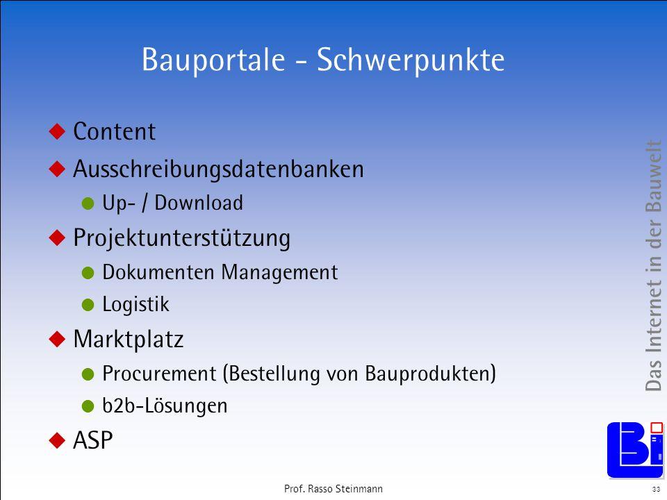 Das Internet in der Bauwelt 33 Prof. Rasso Steinmann Bauportale - Schwerpunkte Content Ausschreibungsdatenbanken Up- / Download Projektunterstützung D