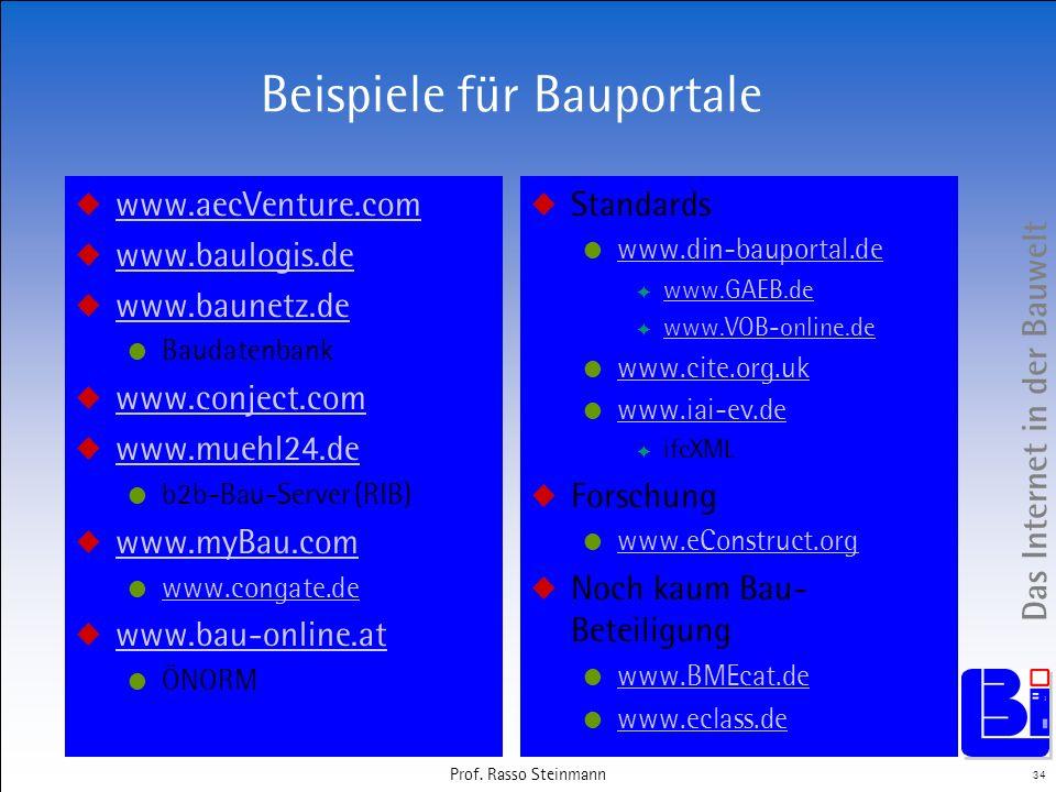 Das Internet in der Bauwelt 34 Prof. Rasso Steinmann Beispiele für Bauportale www.aecVenture.com www.baulogis.de www.baunetz.de Baudatenbank www.conje