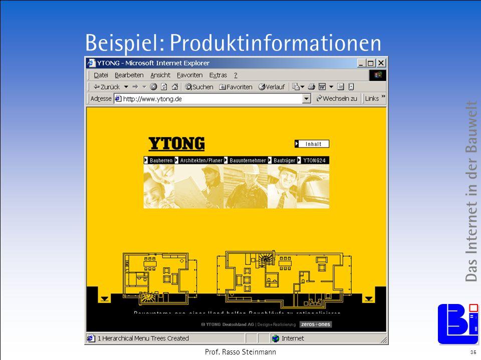 Das Internet in der Bauwelt 35 Prof. Rasso Steinmann Beispiel: Produktinformationen