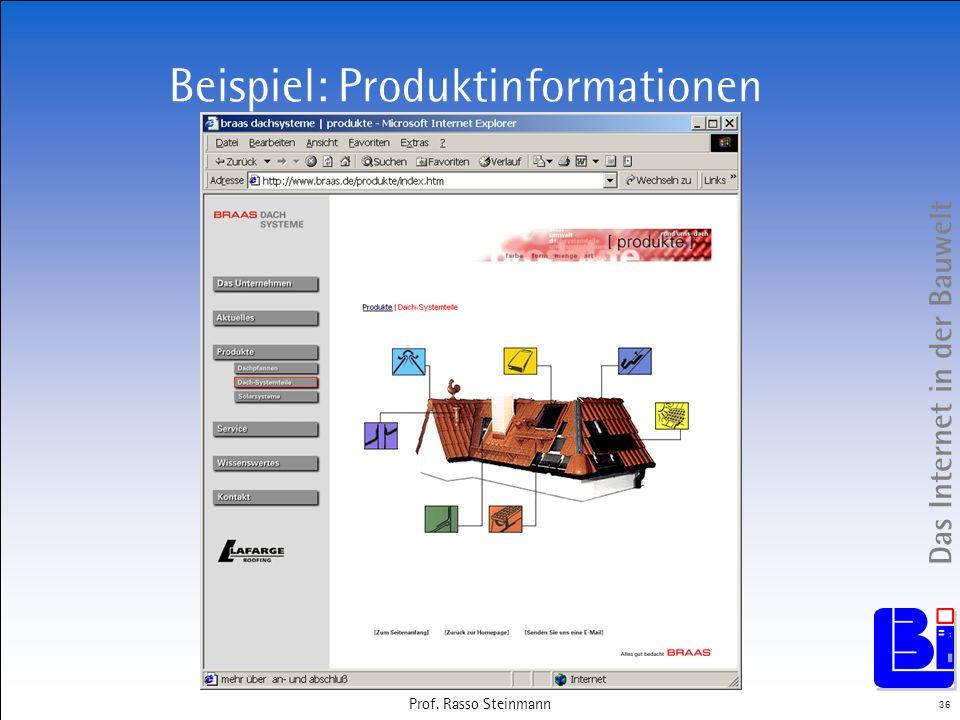 Das Internet in der Bauwelt 36 Prof. Rasso Steinmann Beispiel: Produktinformationen