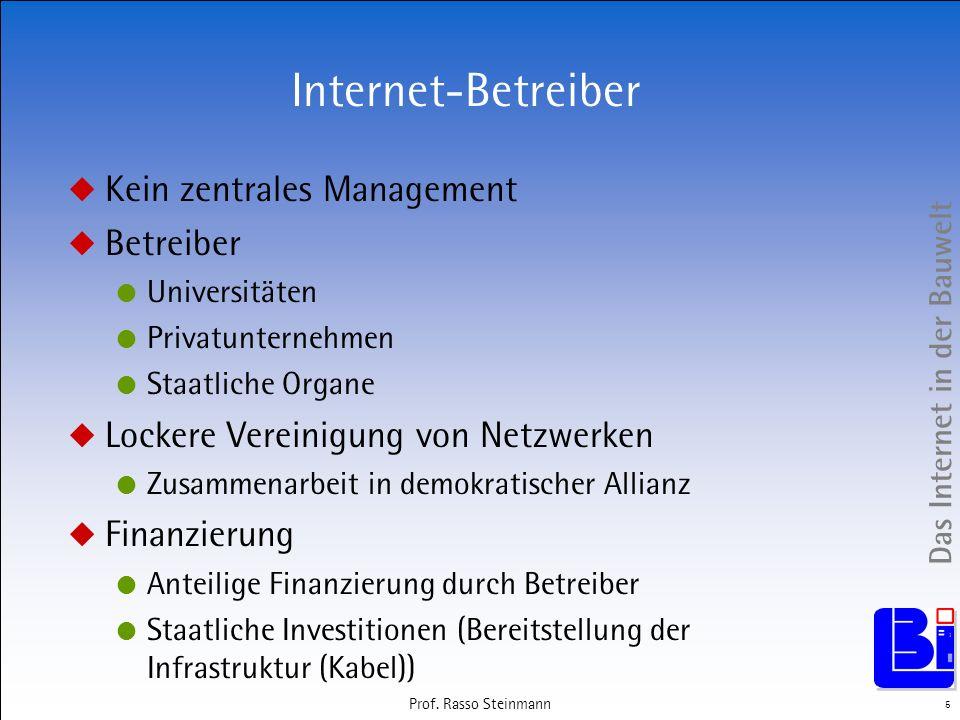 Das Internet in der Bauwelt 5 Prof. Rasso Steinmann Internet-Betreiber Kein zentrales Management Betreiber Universitäten Privatunternehmen Staatliche