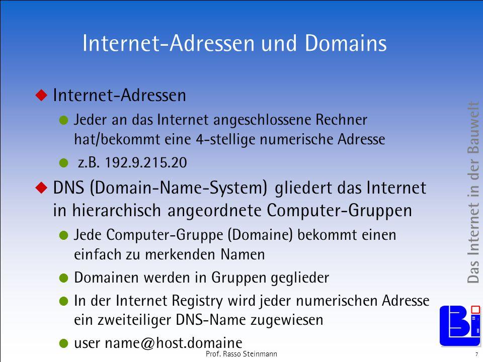 Das Internet in der Bauwelt 7 Prof. Rasso Steinmann Internet-Adressen und Domains Internet-Adressen Jeder an das Internet angeschlossene Rechner hat/b