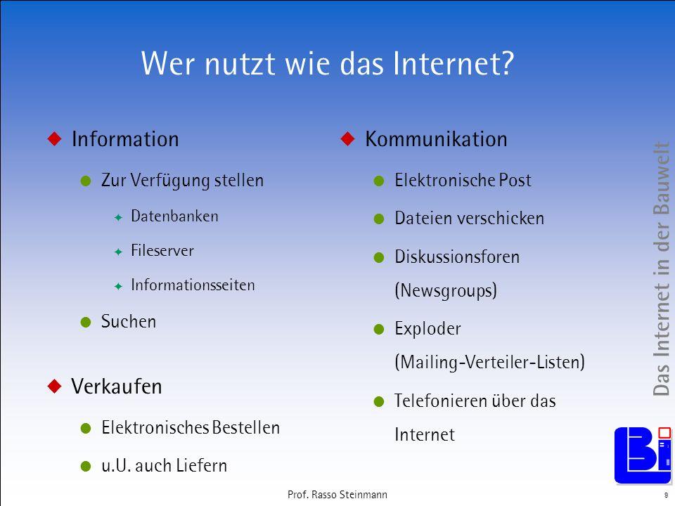 Das Internet in der Bauwelt 9 Prof. Rasso Steinmann Wer nutzt wie das Internet? Information Zur Verfügung stellen Datenbanken Fileserver Informationss