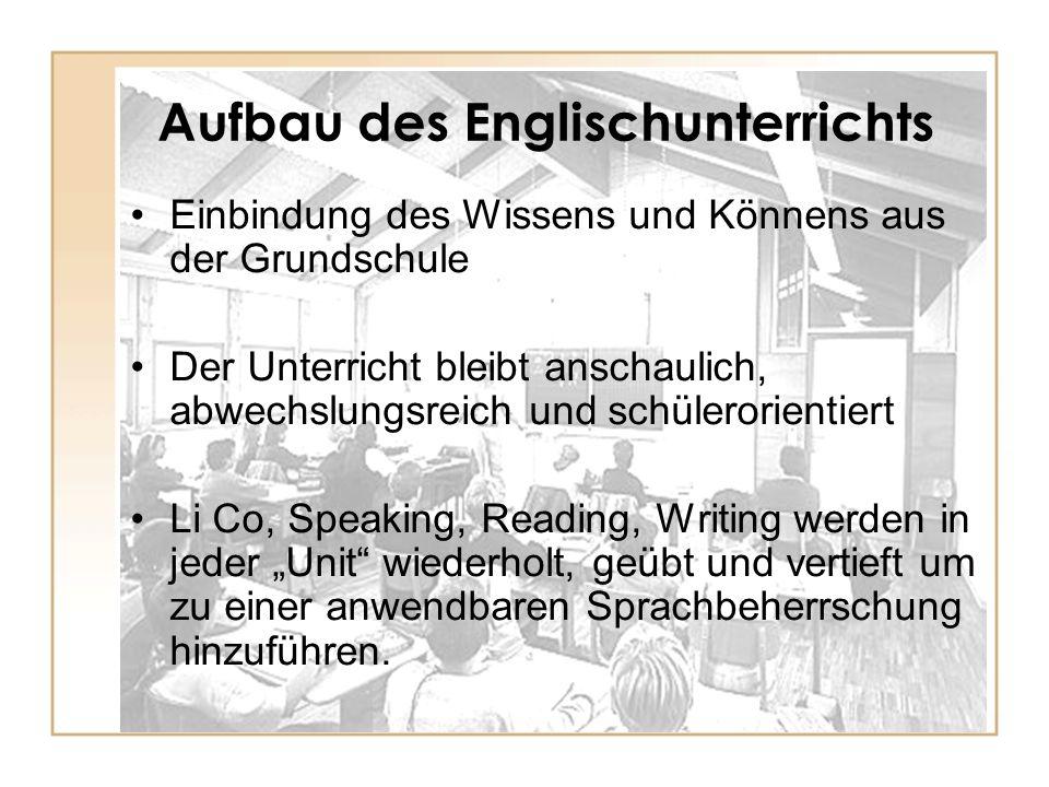 Aufbau des Englischunterrichts Einbindung des Wissens und Könnens aus der Grundschule Der Unterricht bleibt anschaulich, abwechslungsreich und schüler