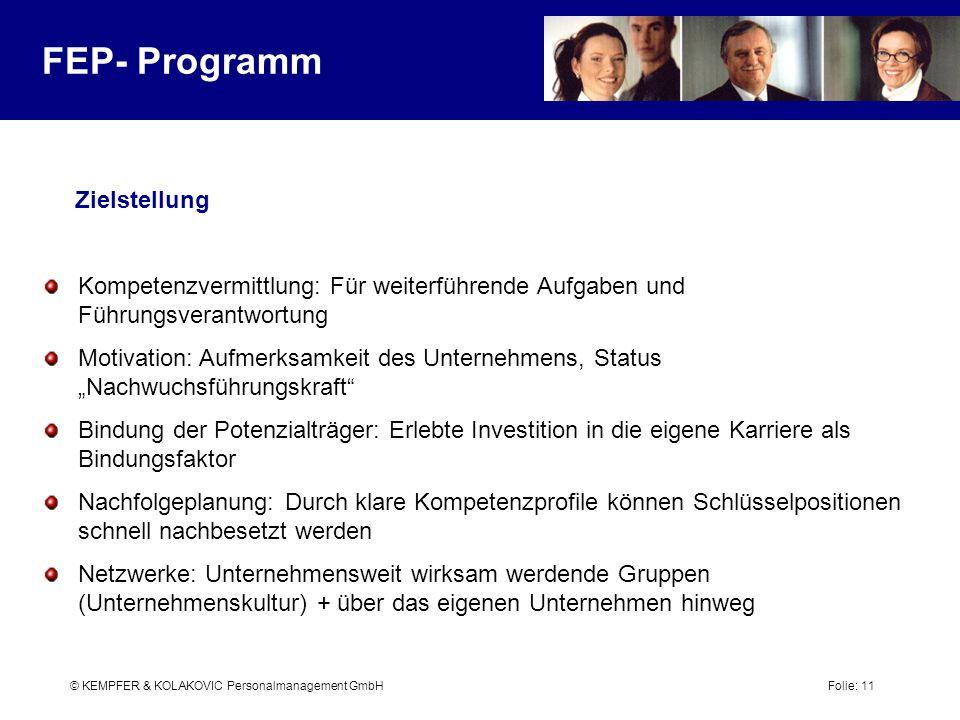 © KEMPFER & KOLAKOVIC Personalmanagement GmbH Folie: 11 FEP- Programm Zielstellung Kompetenzvermittlung: Für weiterführende Aufgaben und Führungsveran