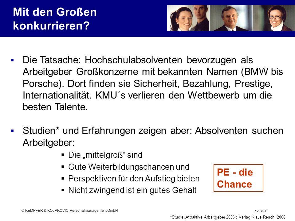 © KEMPFER & KOLAKOVIC Personalmanagement GmbH Folie: 7 Die Tatsache: Hochschulabsolventen bevorzugen als Arbeitgeber Großkonzerne mit bekannten Namen