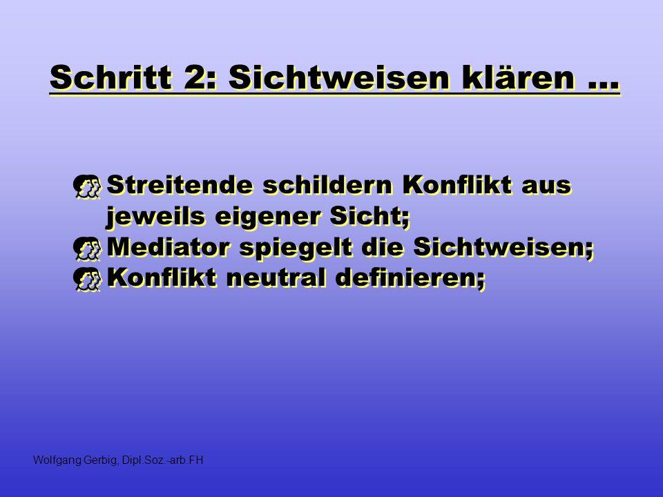 Schritt 2: Sichtweisen klären... Streitende schildern Konflikt aus jeweils eigener Sicht; Mediator spiegelt die Sichtweisen; Konflikt neutral definier