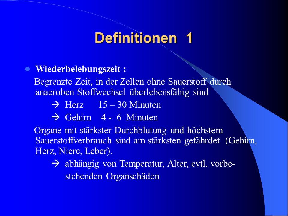 Definitionen 2 Kreislaufstillstand (primär) : Pulslosigkeit Bewusstlosigkeit (nach 10-15 Sek.) Atemstillstand (nach 30 Sek.) maximal weite Pupillen (nach 30-60 Sek.) Bei primärem Atemstillstand : Kreislaufstillstand nach 3-5 Minuten