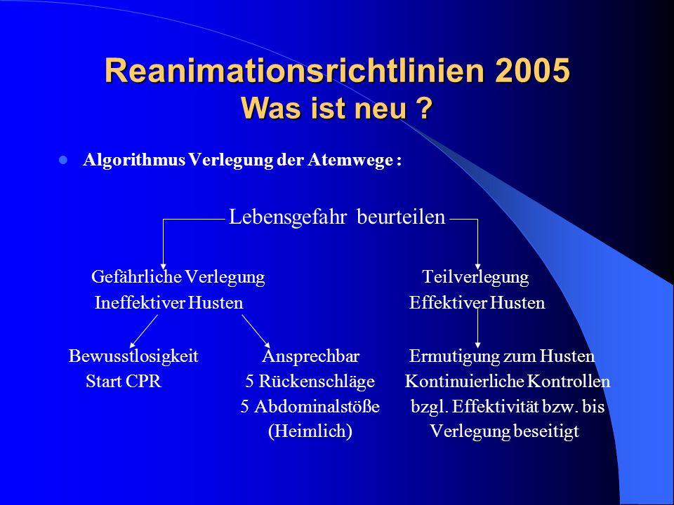 Reanimationsrichtlinien 2005 Was ist neu ? Algorithmus Verlegung der Atemwege : Lebensgefahr beurteilen Gefährliche Verlegung Teilverlegung Ineffektiv