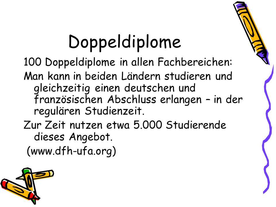 Doppeldiplome 100 Doppeldiplome in allen Fachbereichen: Man kann in beiden Ländern studieren und gleichzeitig einen deutschen und französischen Abschl