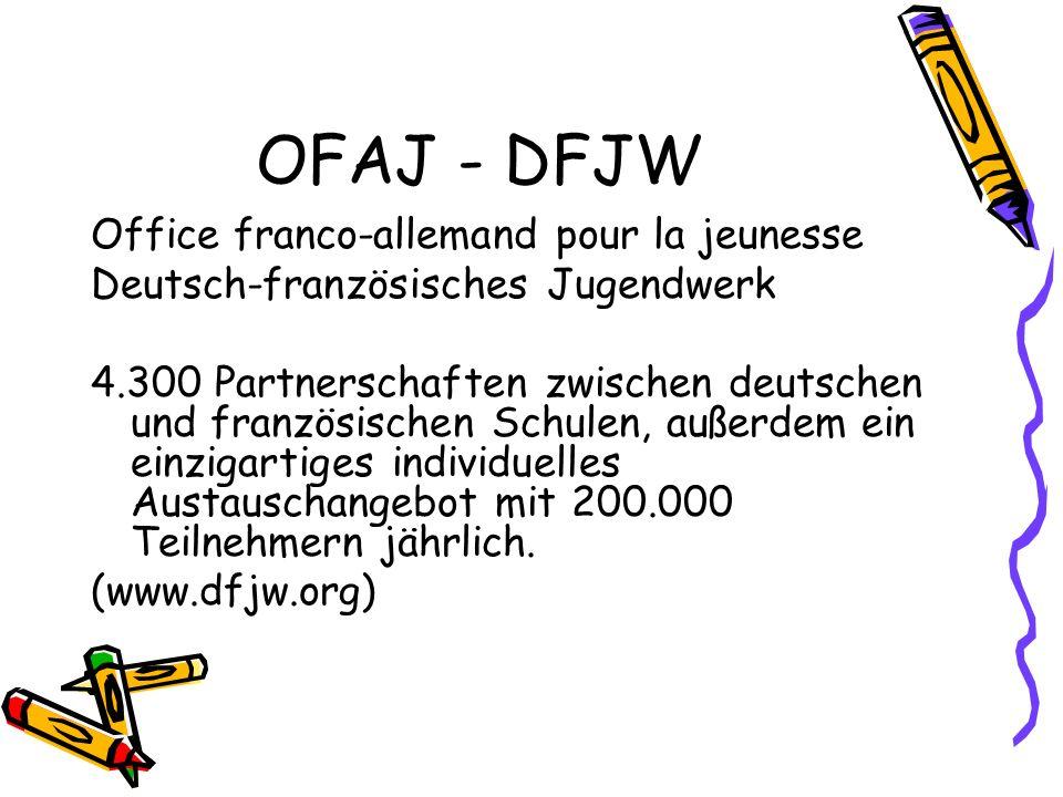 OFAJ - DFJW Office franco-allemand pour la jeunesse Deutsch-französisches Jugendwerk 4.300 Partnerschaften zwischen deutschen und französischen Schule
