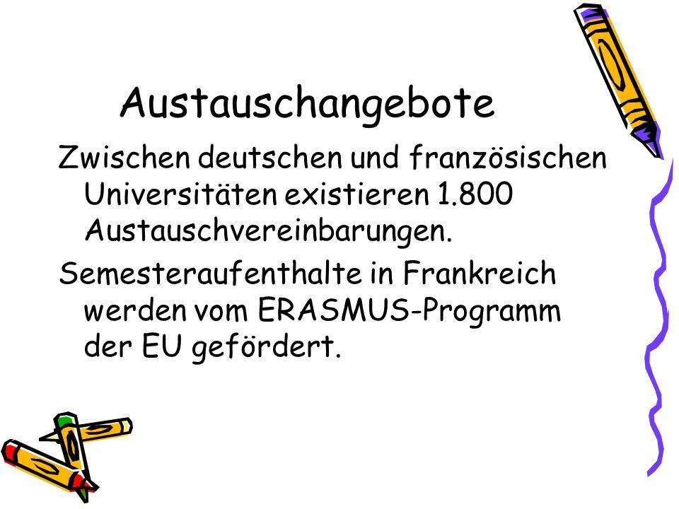 Austauschangebote Zwischen deutschen und französischen Universitäten existieren 1.800 Austauschvereinbarungen. Semesteraufenthalte in Frankreich werde