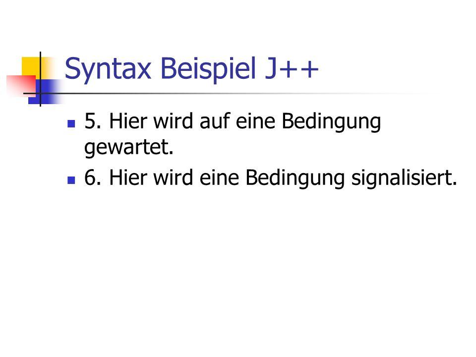 Syntax Beispiel J++ 5. Hier wird auf eine Bedingung gewartet.