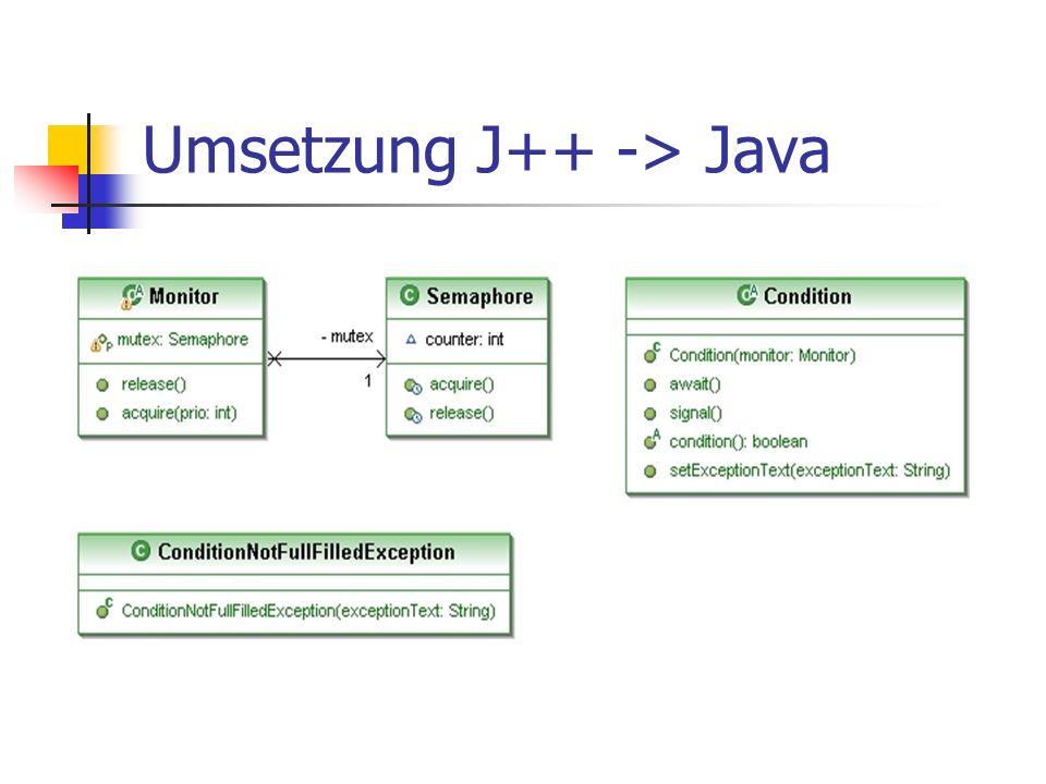Umsetzung J++ -> Java