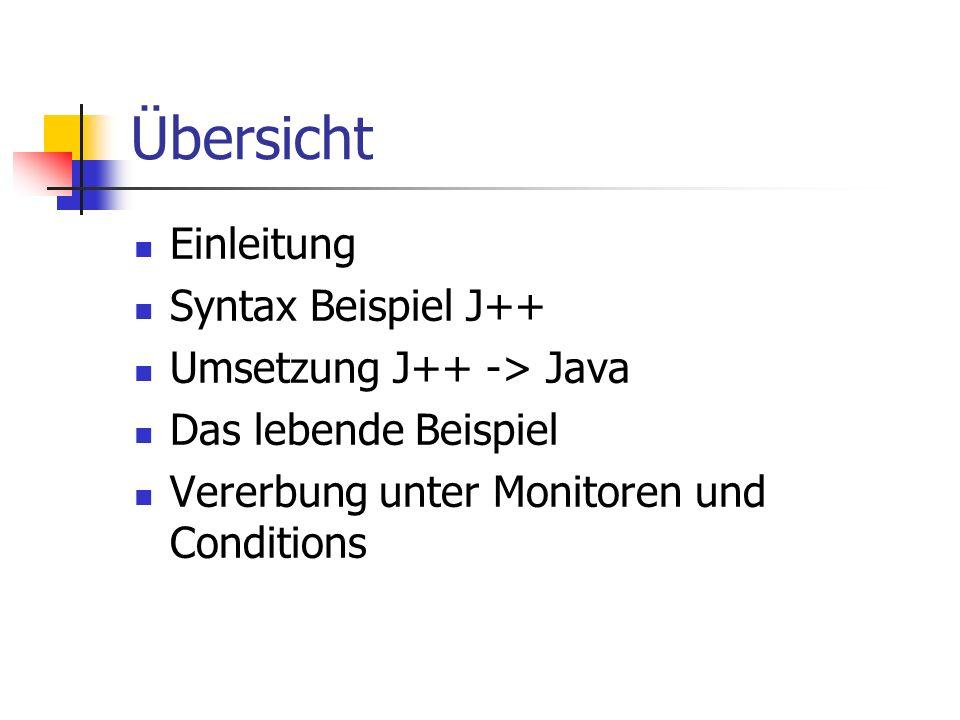 Übersicht Einleitung Syntax Beispiel J++ Umsetzung J++ -> Java Das lebende Beispiel Vererbung unter Monitoren und Conditions