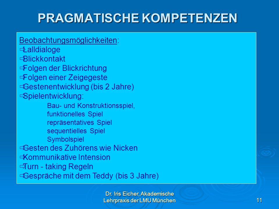 Dr. Iris Eicher, Akademische Lehrpraxis der LMU München11 PRAGMATISCHE KOMPETENZEN Beobachtungsmöglichkeiten: Lalldialoge Blickkontakt Folgen der Blic