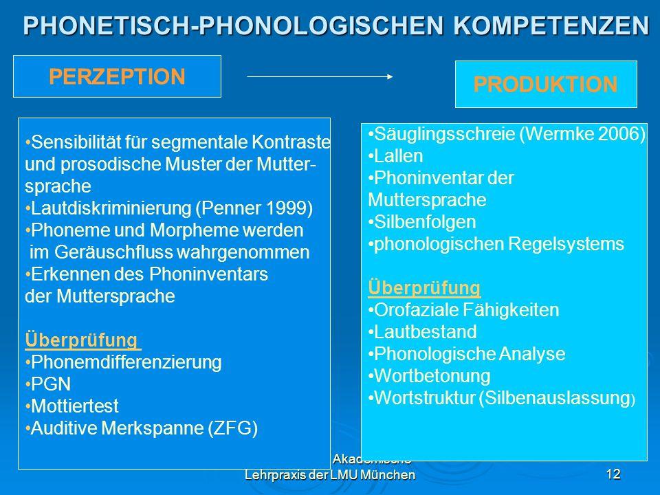 Dr. Iris Eicher, Akademische Lehrpraxis der LMU München12 PHONETISCH-PHONOLOGISCHEN KOMPETENZEN PERZEPTION PRODUKTION Sensibilität für segmentale Kont