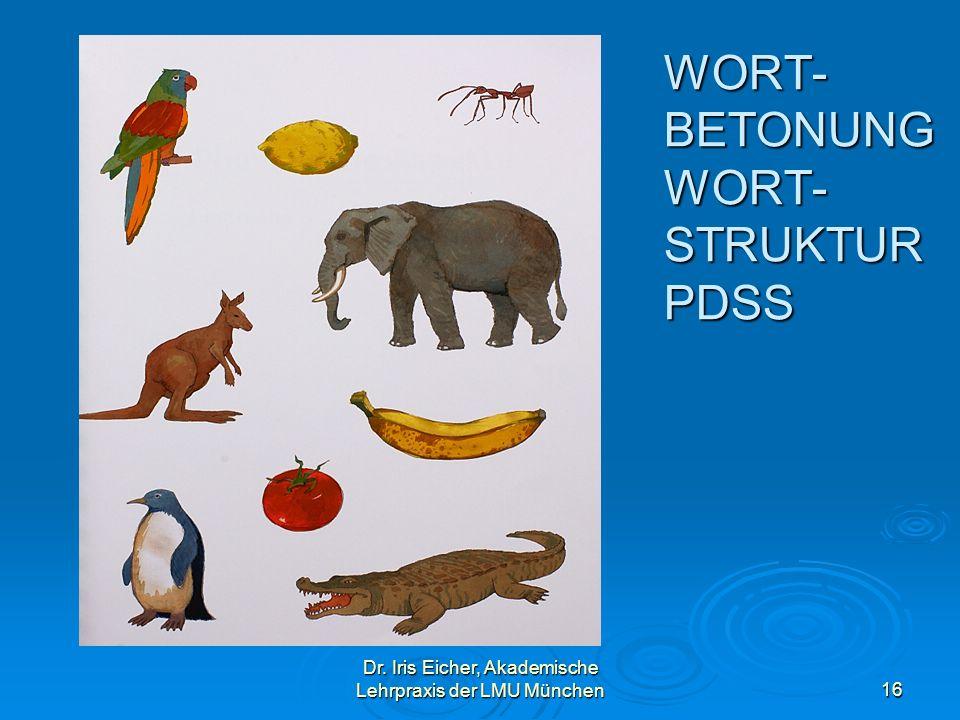Dr. Iris Eicher, Akademische Lehrpraxis der LMU München16 WORT- BETONUNG WORT- STRUKTUR PDSS
