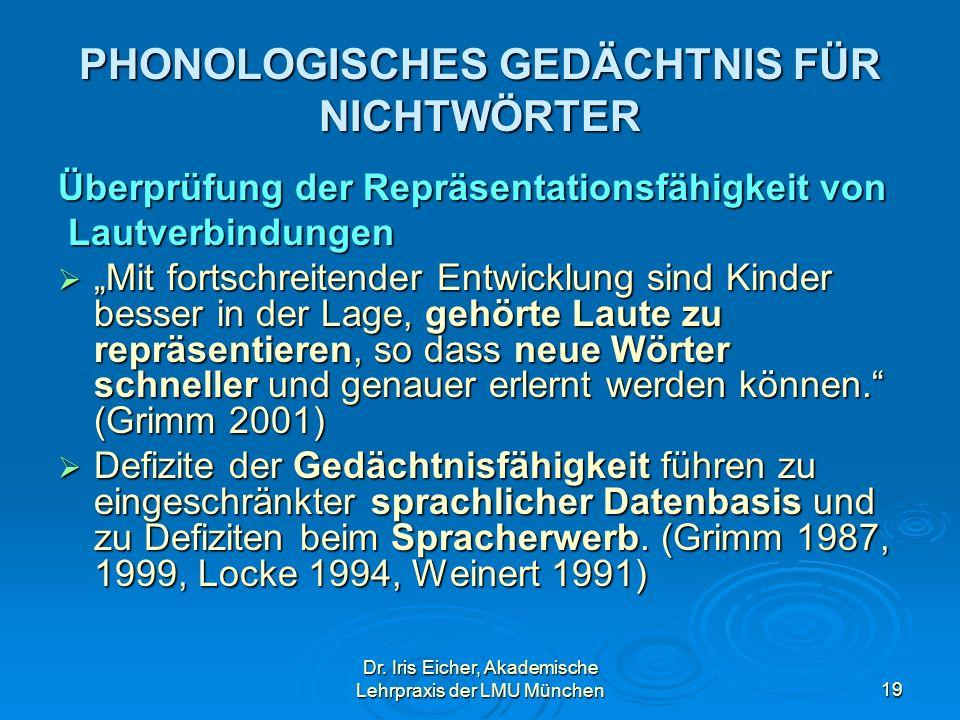 Dr. Iris Eicher, Akademische Lehrpraxis der LMU München19 PHONOLOGISCHES GEDÄCHTNIS FÜR NICHTWÖRTER Überprüfung der Repräsentationsfähigkeit von Lautv