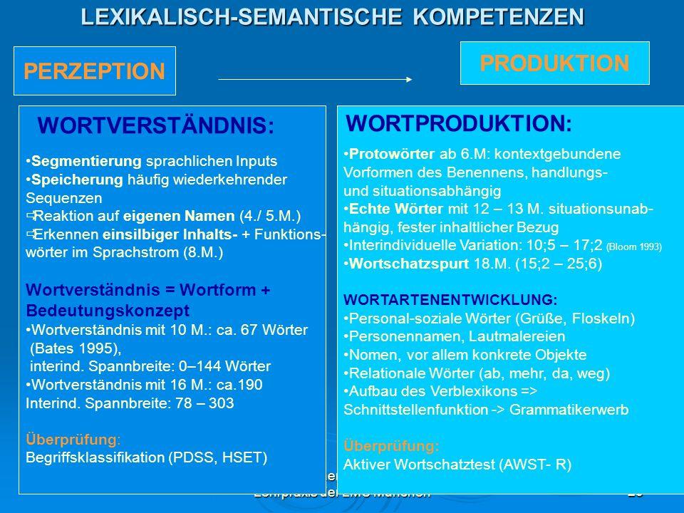 Dr. Iris Eicher, Akademische Lehrpraxis der LMU München23 LEXIKALISCH-SEMANTISCHE KOMPETENZEN PERZEPTION PRODUKTION Segmentierung sprachlichen Inputs