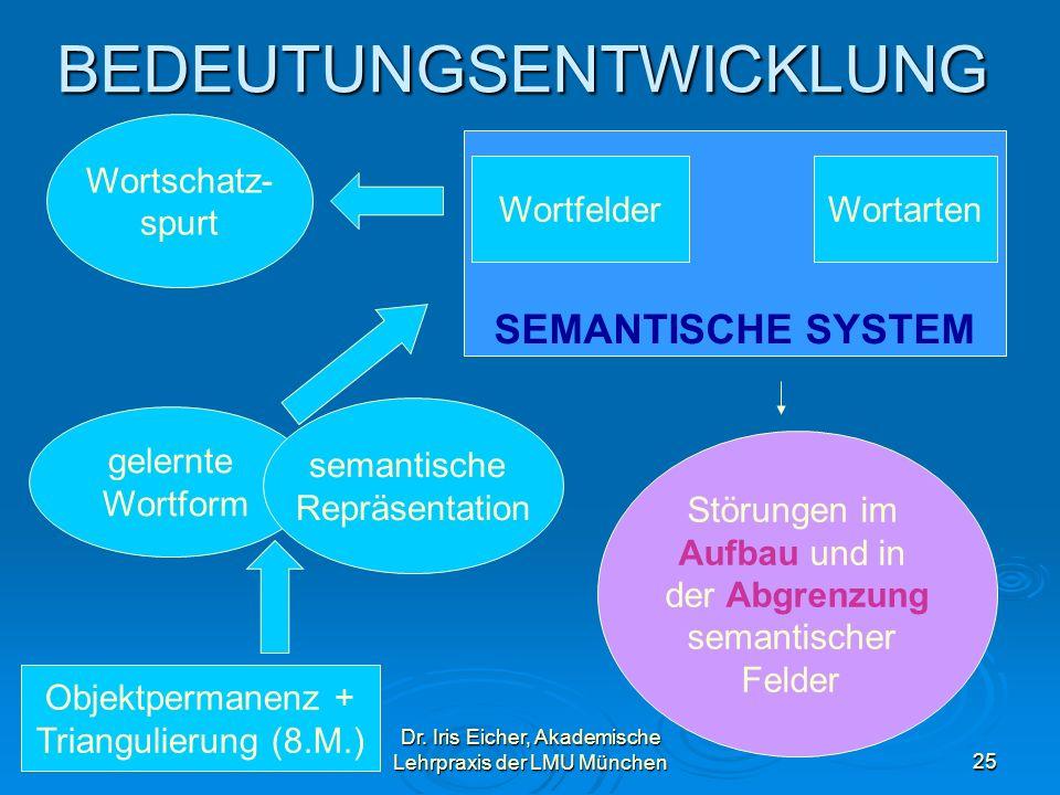 Dr. Iris Eicher, Akademische Lehrpraxis der LMU München25 BEDEUTUNGSENTWICKLUNG Objektpermanenz + Triangulierung (8.M.) gelernte Wortform semantische
